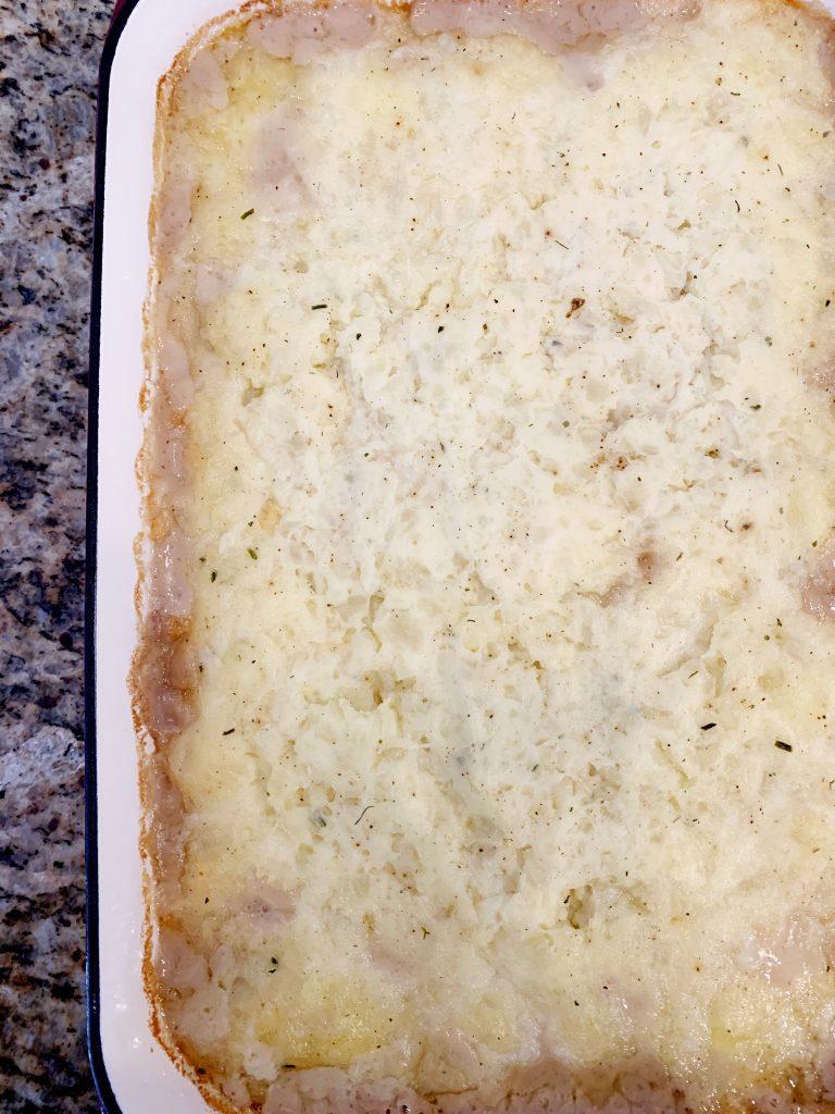 shepherd's pie baked in a casserole dish