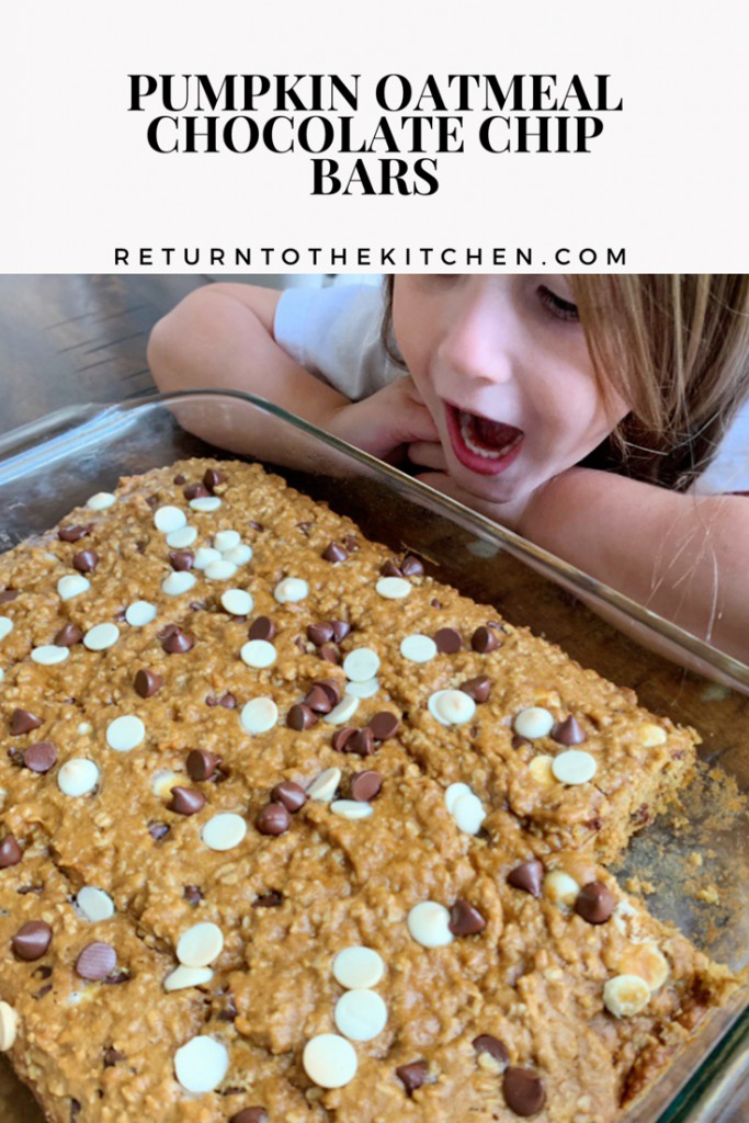 Pumpkin Oatmeal Chocolate Chip Bars