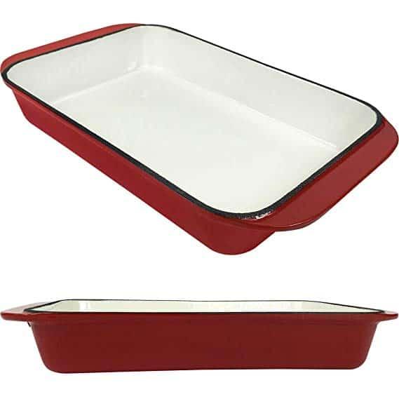 2.9 Qt Enameled Cast Iron Rectangular Roaster, Casserole Dish, Lasagna Pan, Deep Roasting Pan