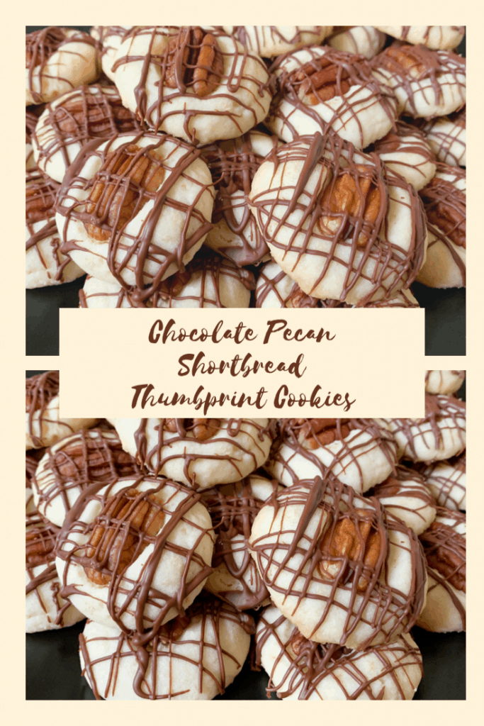 Chocolate Pecan Shortbread Thumbprint Cookies