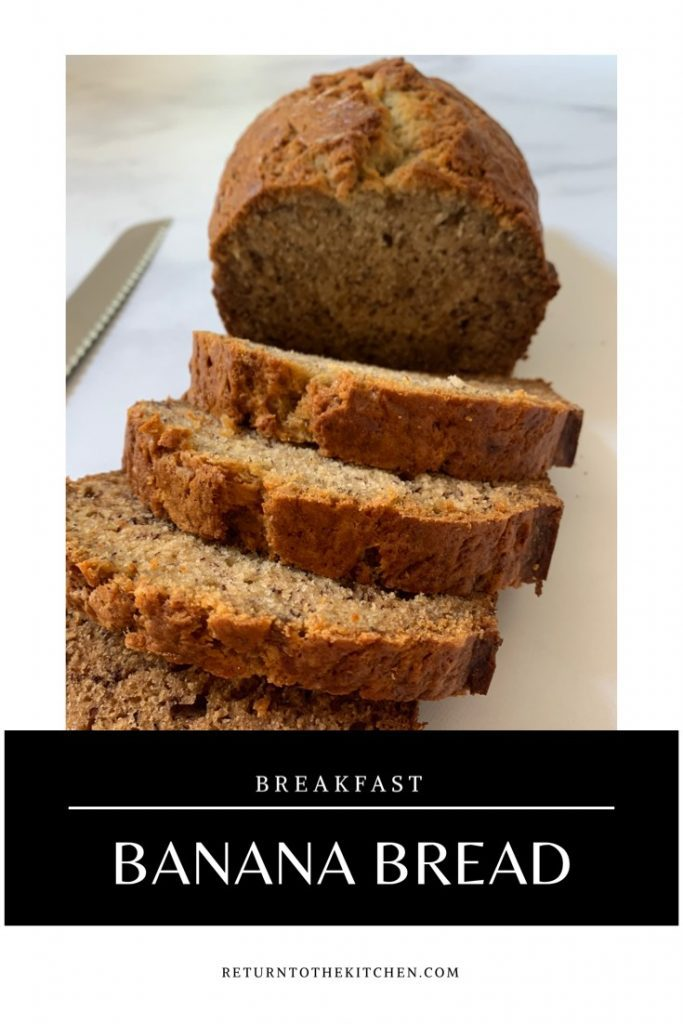 Banana Bread loaf sliced with knife next to it
