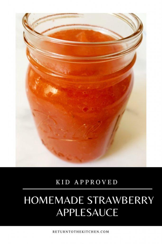 Homemade Strawberry Applesauce in a mason jar